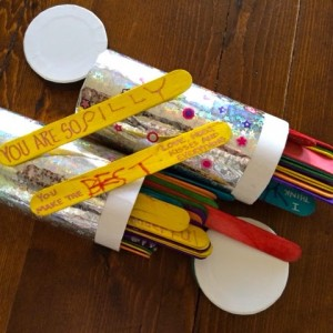 inscribed popsicle sticks